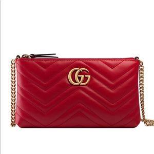 Red Gucci GG Mini Matelasse Chain Bag